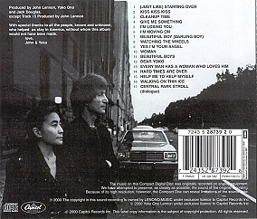 Double Fantasy back cover photo