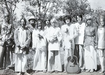 The Indian trip, March 1968. Left to right: Pattie Harrison, John Lennon, Mike Love, the Maharishi, George Harrison, Mia Farrow, Donovan, Paul McCartney, Jane Asher and Cynthia Lennon